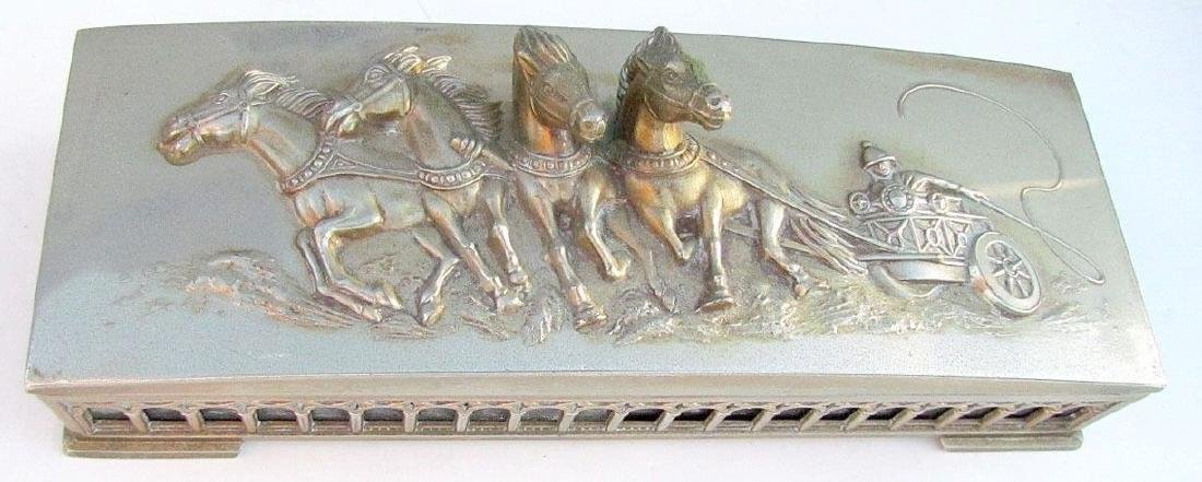 VINTAGE SILVER PLATED BOX w/ DIMENSIONAL HORSE CART