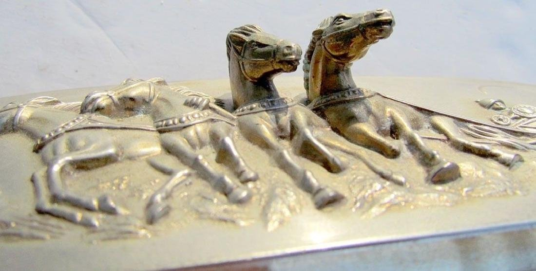 VINTAGE SILVER PLATED BOX w/ DIMENSIONAL HORSE CART - 3