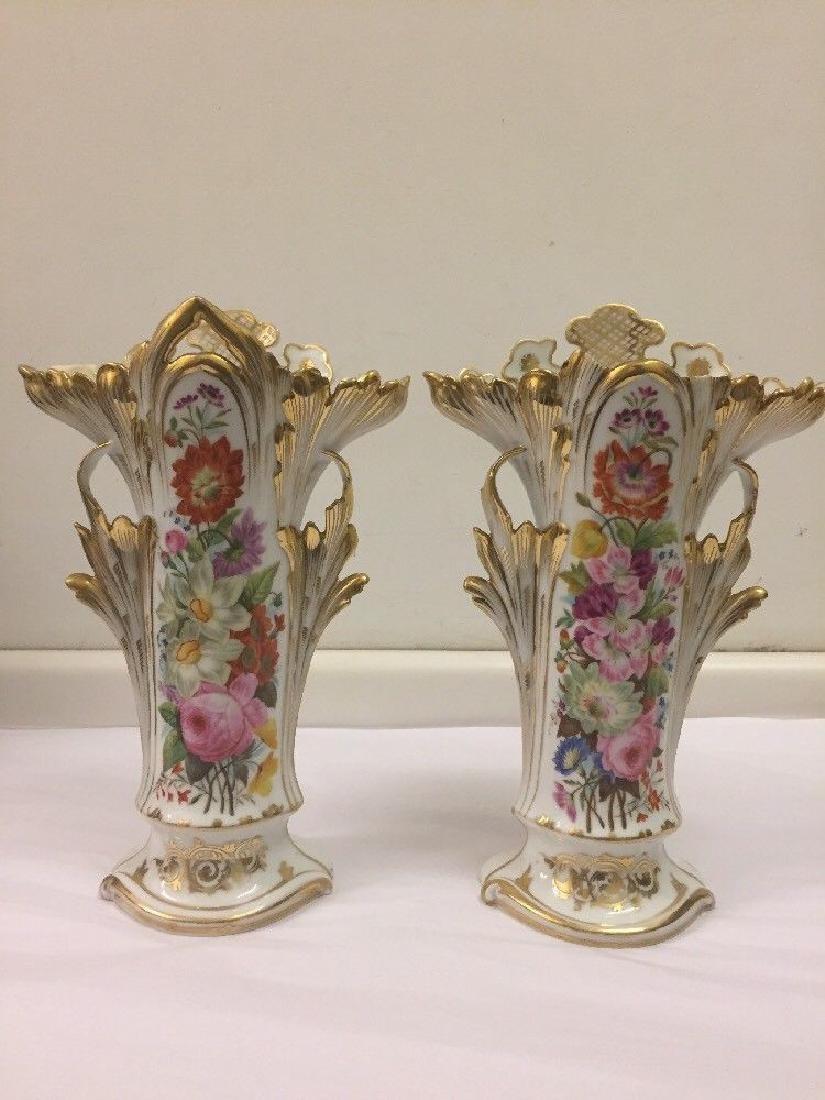 Pair of Paris Porcelain Flower Vases, Circa 1890