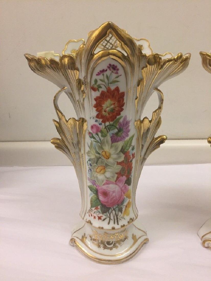 Pair of Paris Porcelain Flower Vases, Circa 1890 - 2