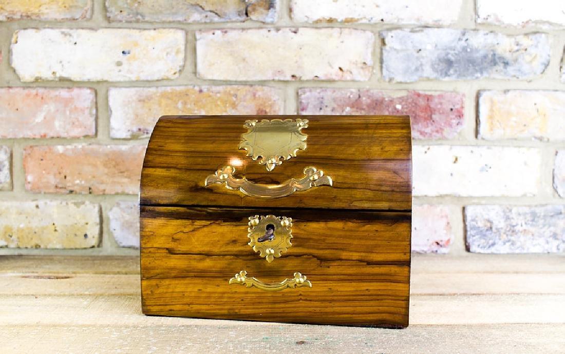 Olivewood Desk box brass overlay c.1870
