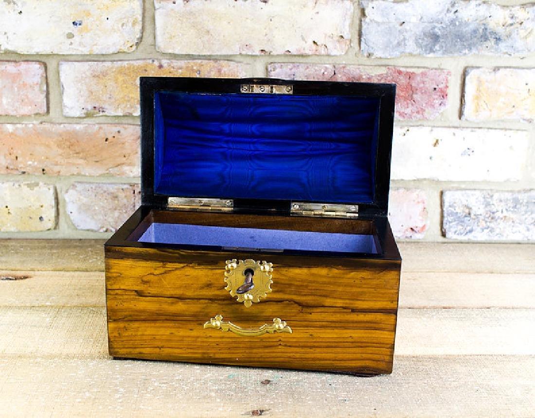 Olivewood Desk box brass overlay c.1870 - 2