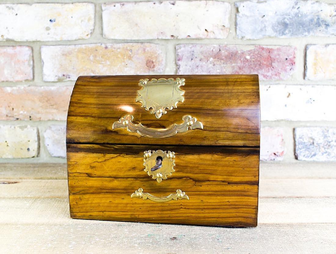 Olivewood Desk box brass overlay c.1870 - 5