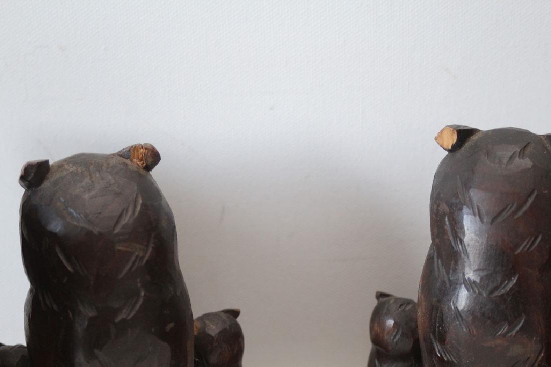 Handcarved Owl Bookends Black Forrest - 3