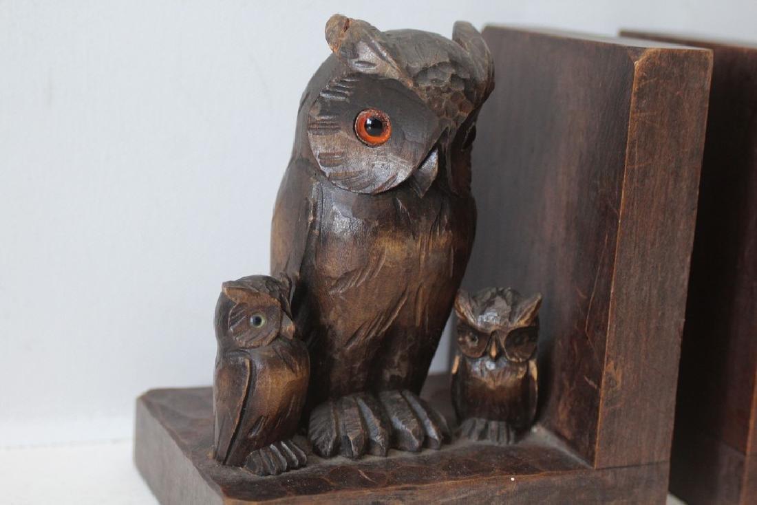 Handcarved Owl Bookends Black Forrest - 5