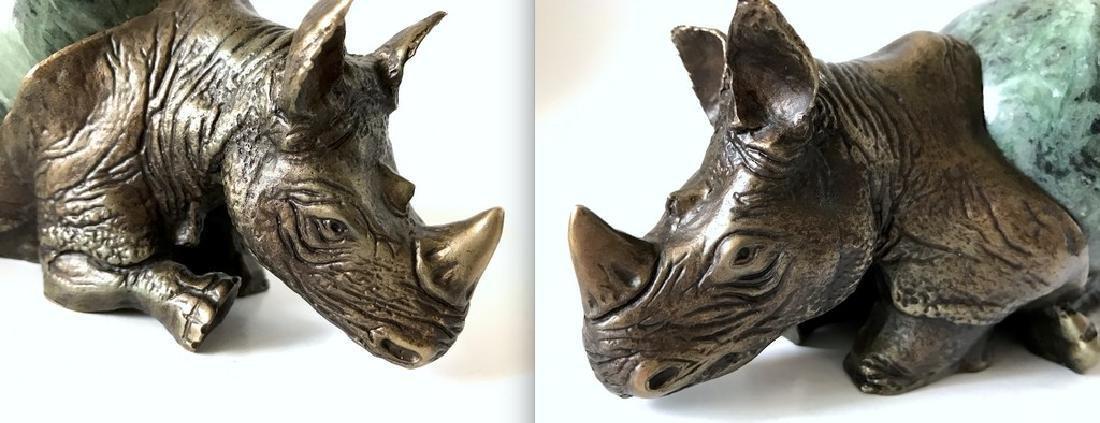 Vintage statue bronze Rhino Serpentine shpere ø80mm - 10