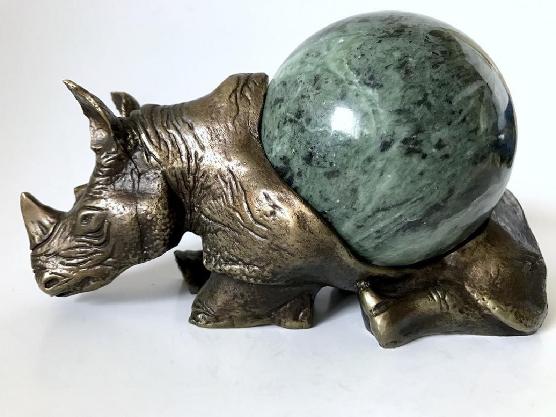 Vintage statue bronze Rhino Serpentine shpere ø80mm