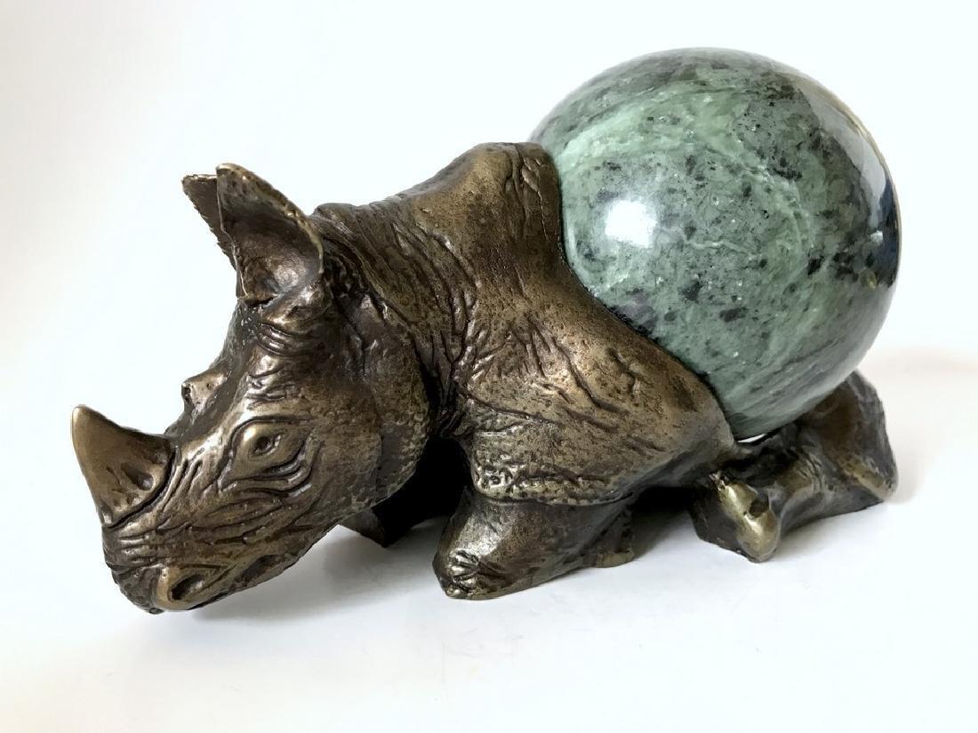 Vintage statue bronze Rhino Serpentine shpere ø80mm - 2