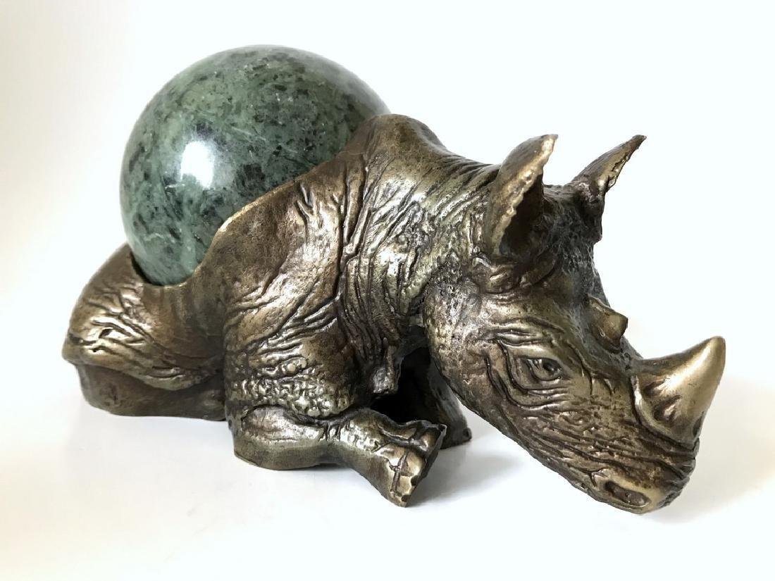 Vintage statue bronze Rhino Serpentine shpere ø80mm - 4