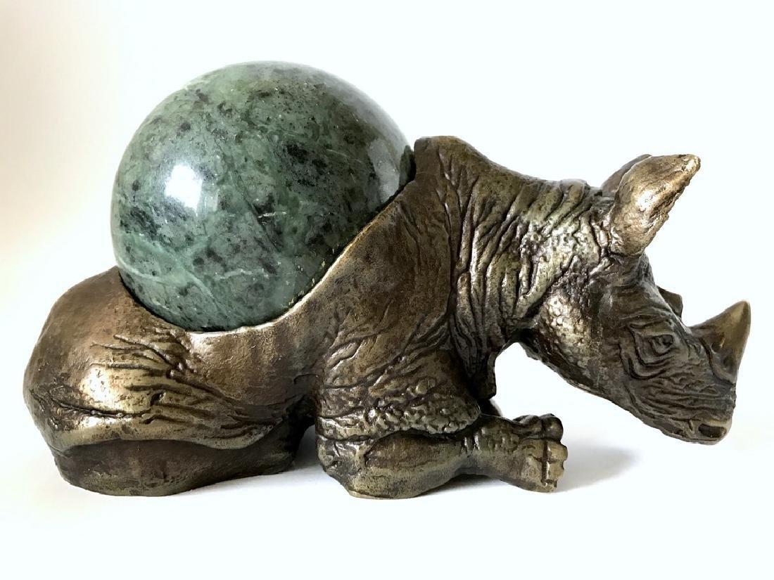 Vintage statue bronze Rhino Serpentine shpere ø80mm - 5