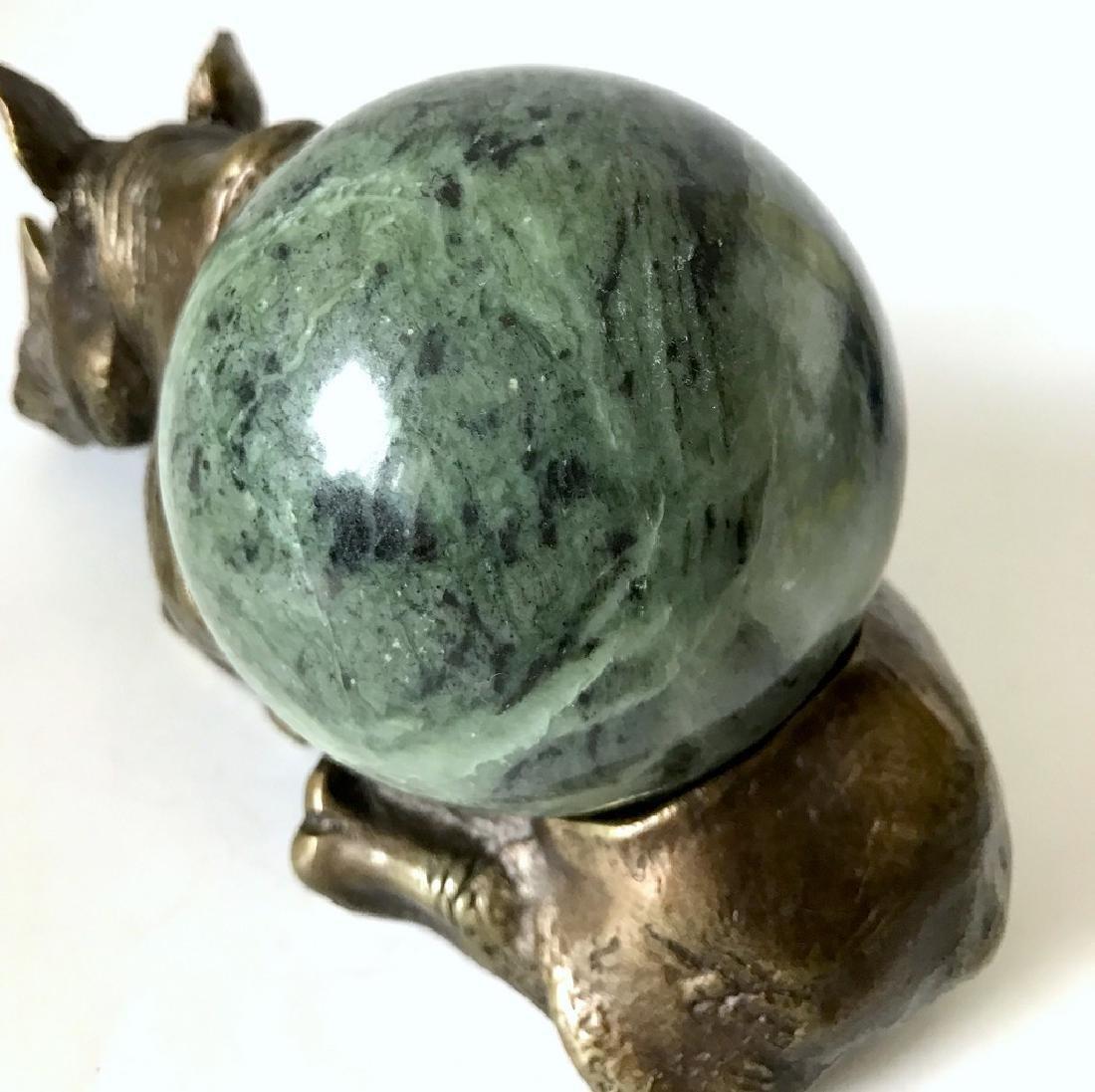 Vintage statue bronze Rhino Serpentine shpere ø80mm - 6