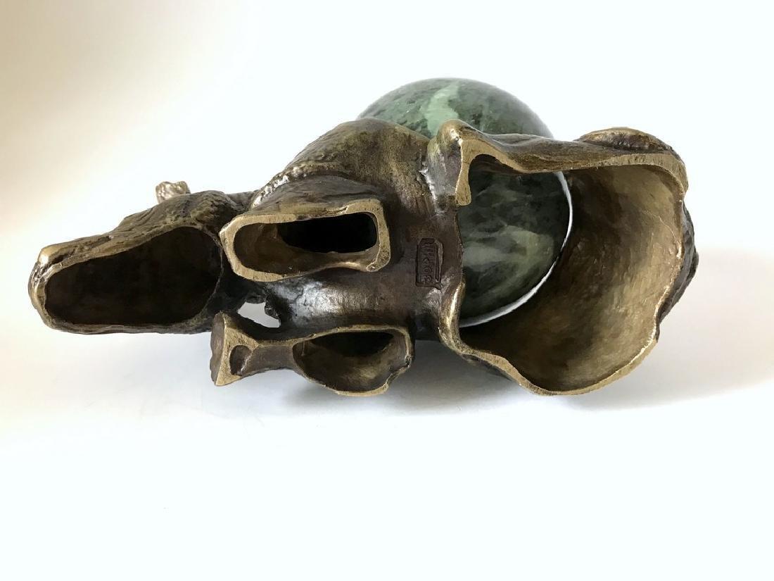 Vintage statue bronze Rhino Serpentine shpere ø80mm - 7