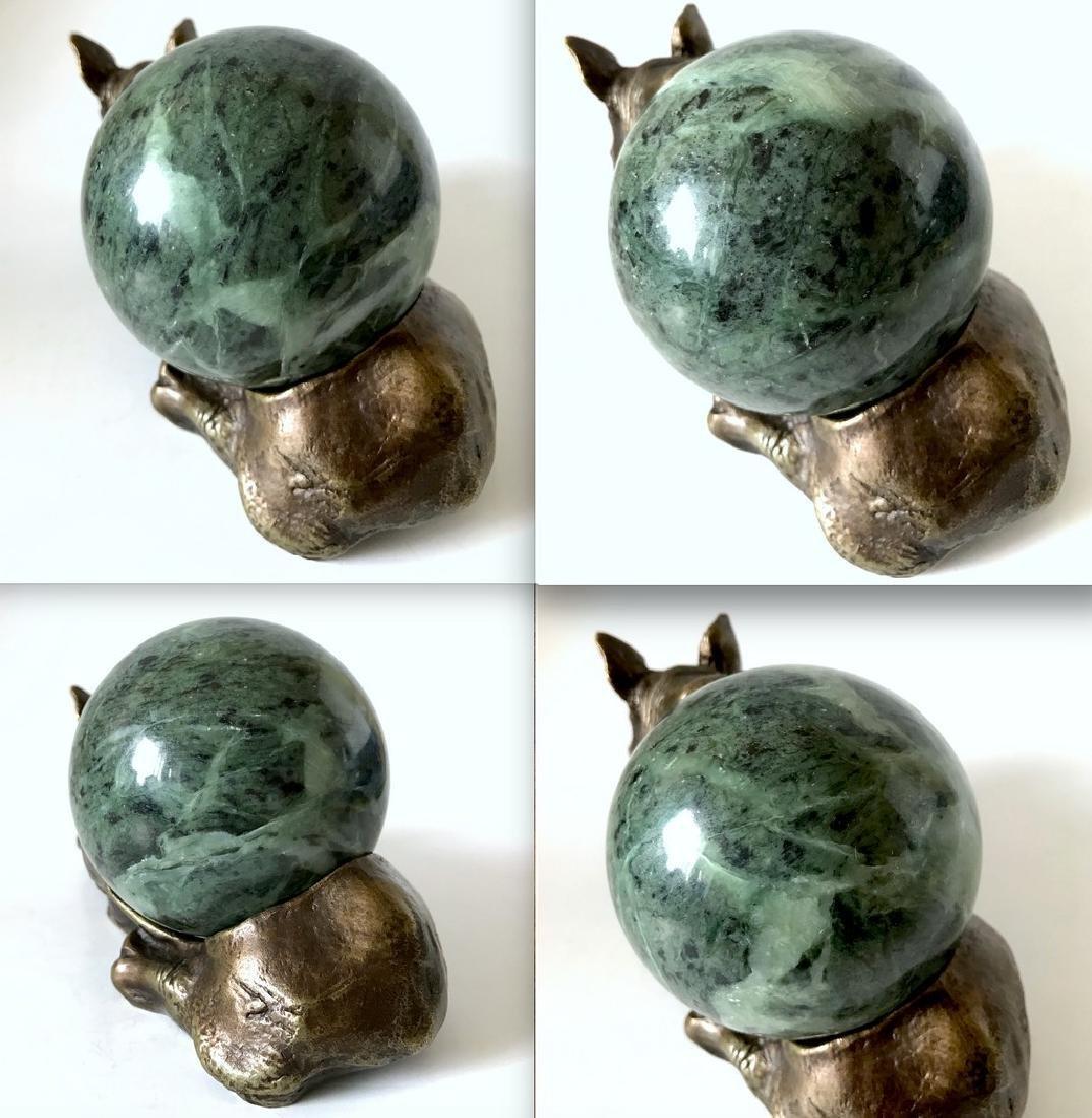 Vintage statue bronze Rhino Serpentine shpere ø80mm - 9