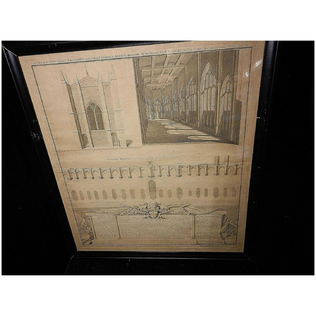 Antique Copper Plate Engraving of the London Bridge by