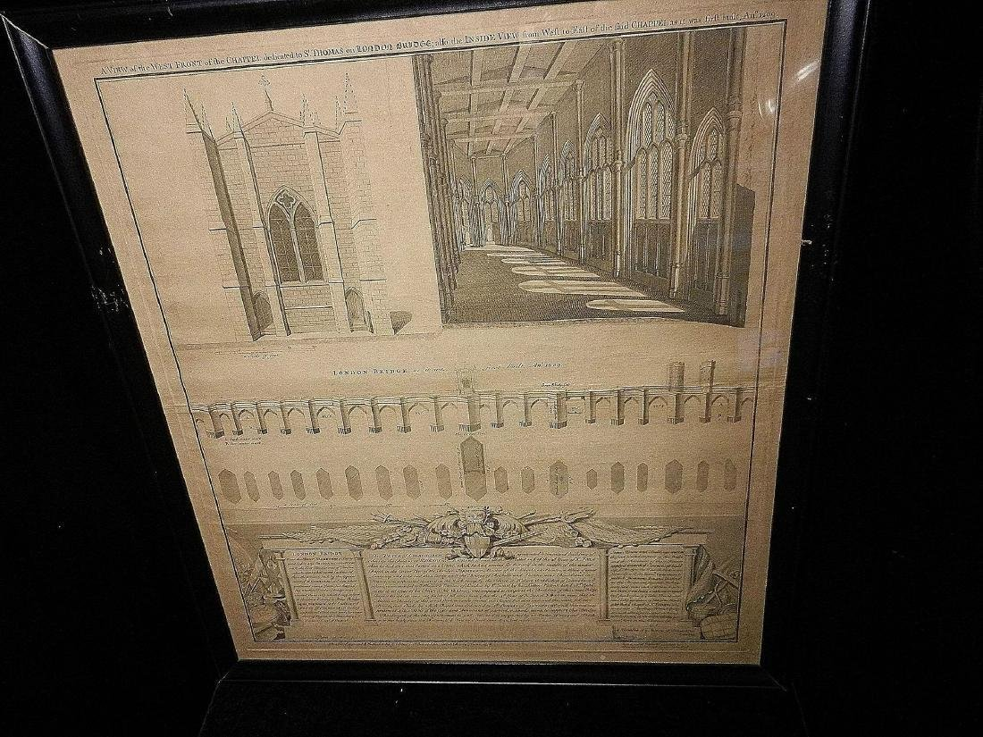 Antique Copper Plate Engraving of the London Bridge by - 2