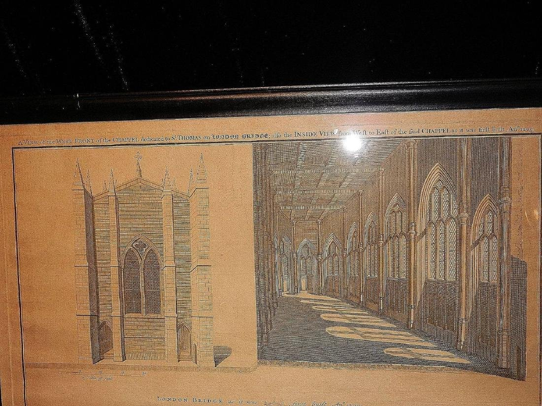 Antique Copper Plate Engraving of the London Bridge by - 3