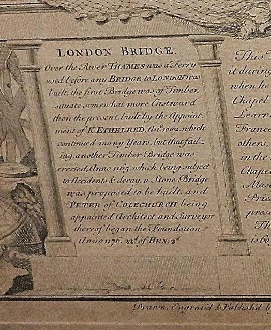 Antique Copper Plate Engraving of the London Bridge by - 4