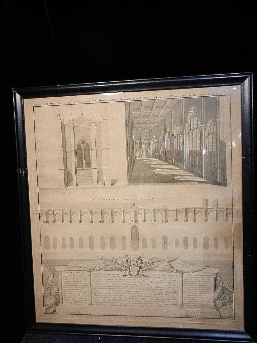 Antique Copper Plate Engraving of the London Bridge by - 9