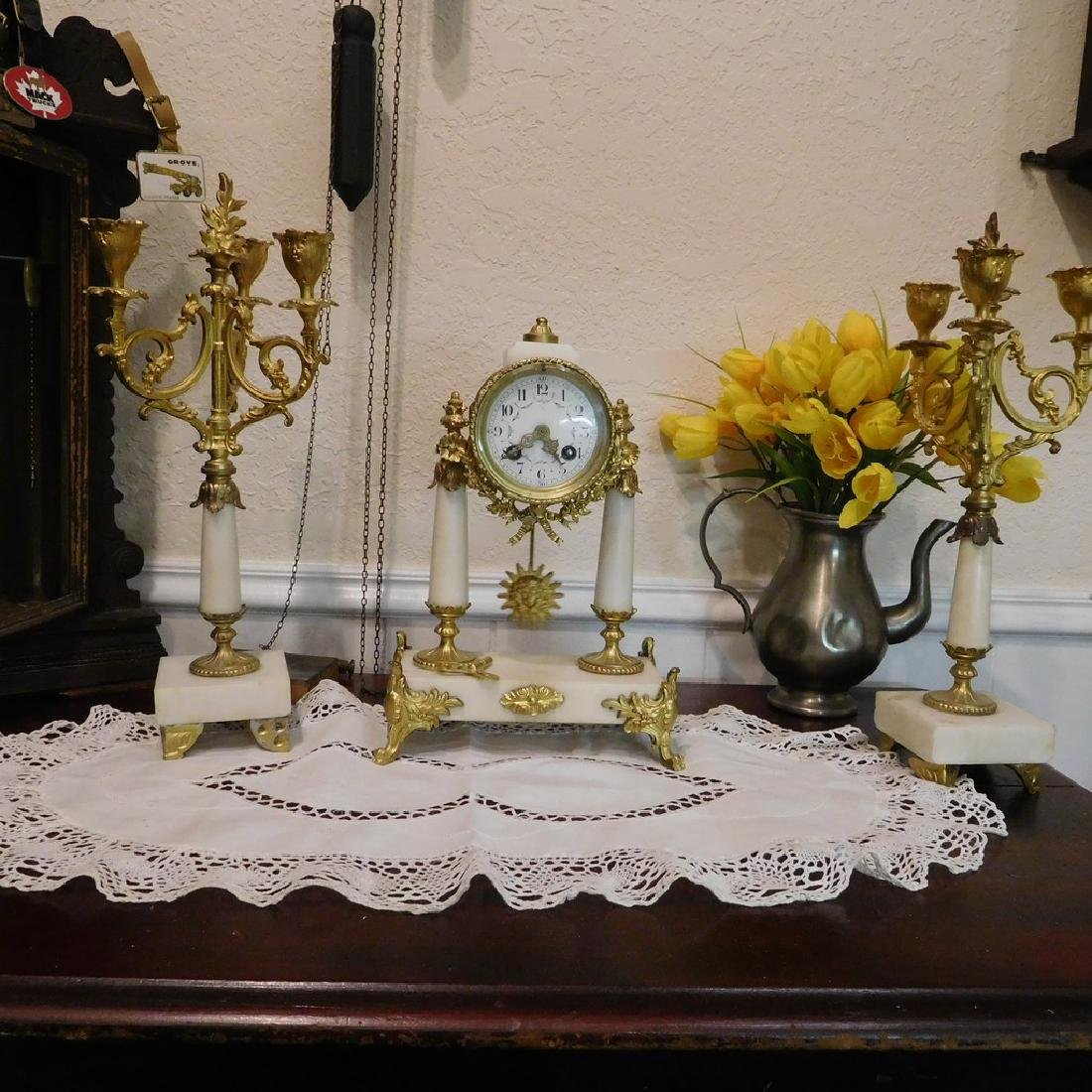 Antique French Bell Clock Runs & Strikes w/ Pair of