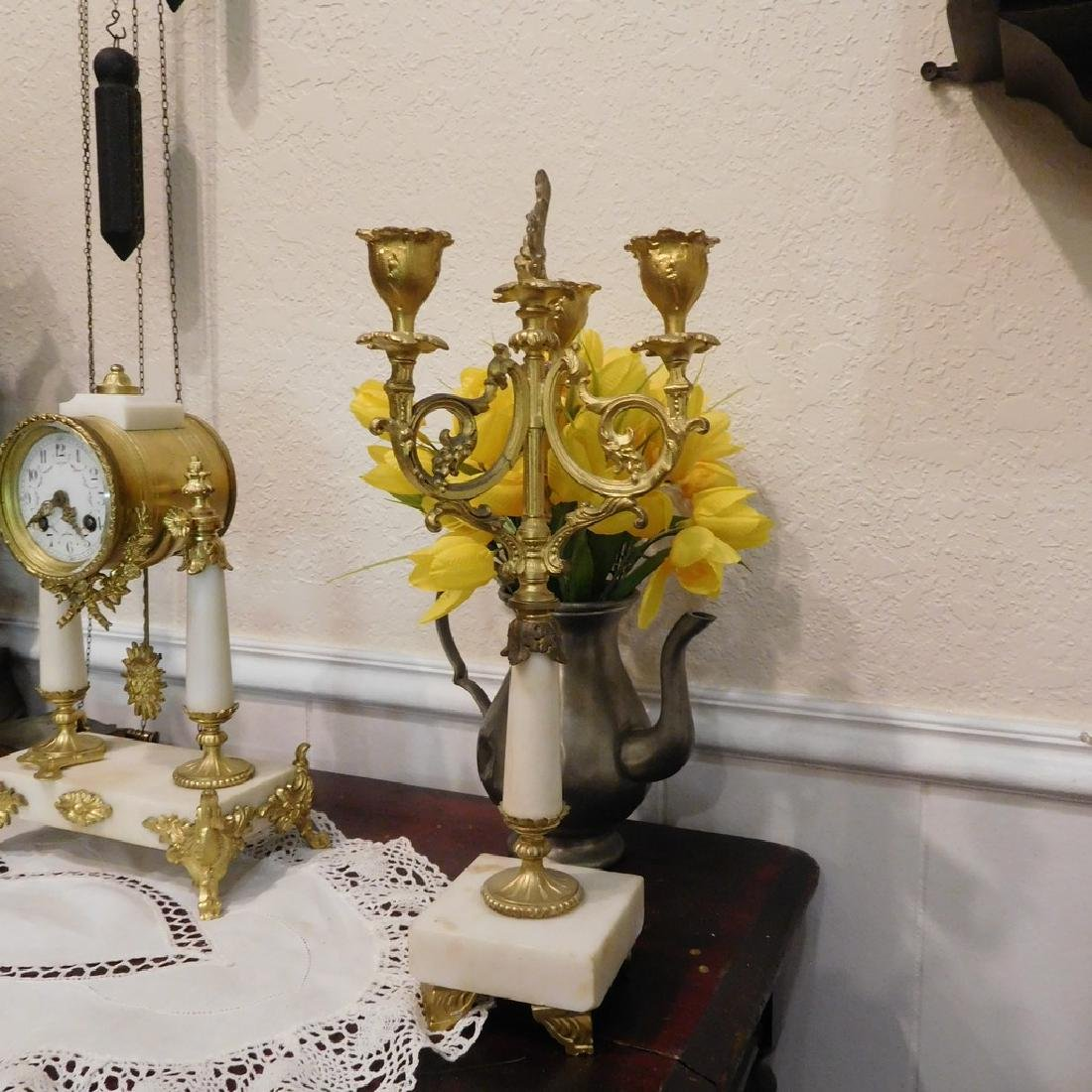 Antique French Bell Clock Runs & Strikes w/ Pair of - 3