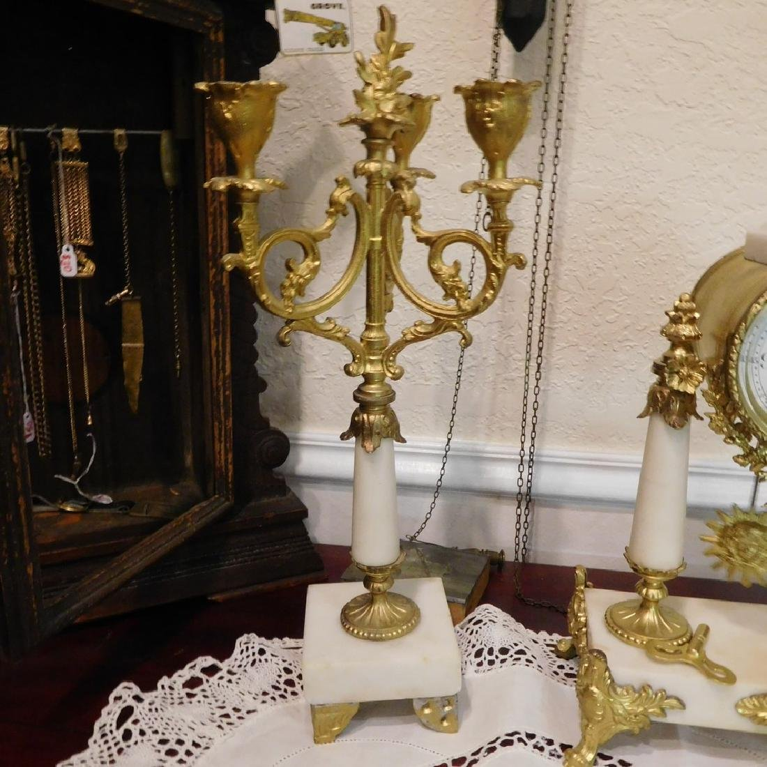 Antique French Bell Clock Runs & Strikes w/ Pair of - 4