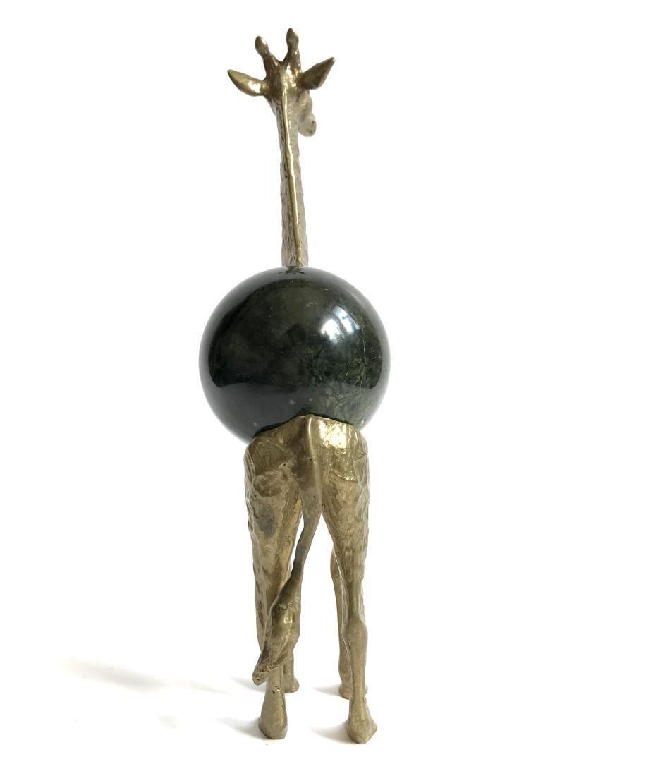 Vintage statue bronze Giraffe Serpentine shpere ø60mm - 2