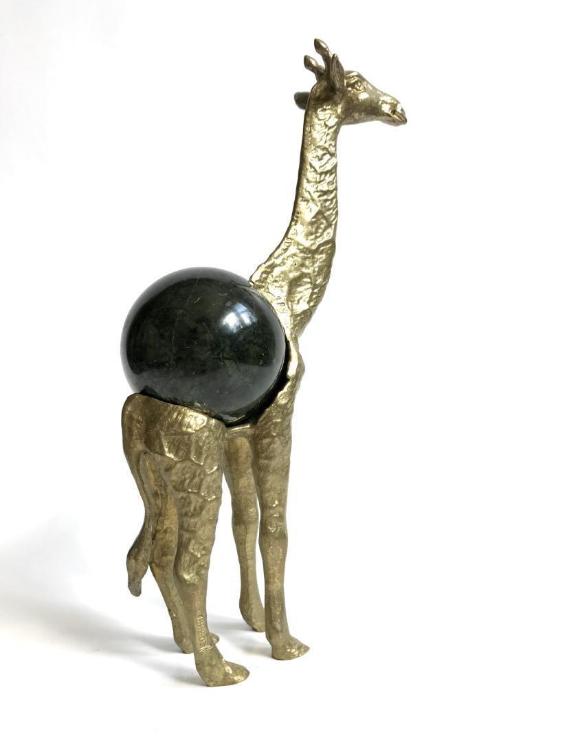 Vintage statue bronze Giraffe Serpentine shpere ø60mm - 3