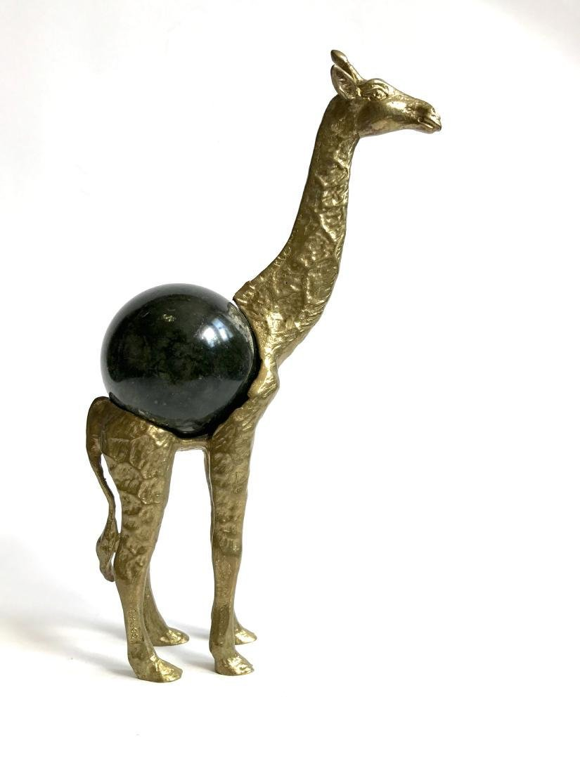 Vintage statue bronze Giraffe Serpentine shpere ø60mm - 4