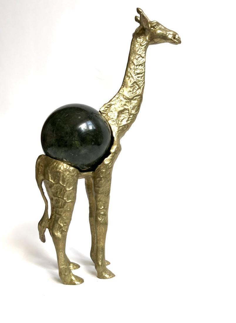 Vintage statue bronze Giraffe Serpentine shpere ø60mm - 6