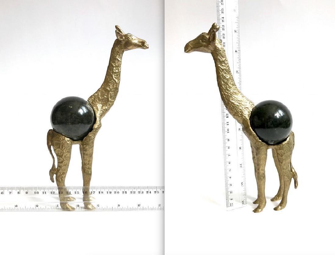 Vintage statue bronze Giraffe Serpentine shpere ø60mm - 8