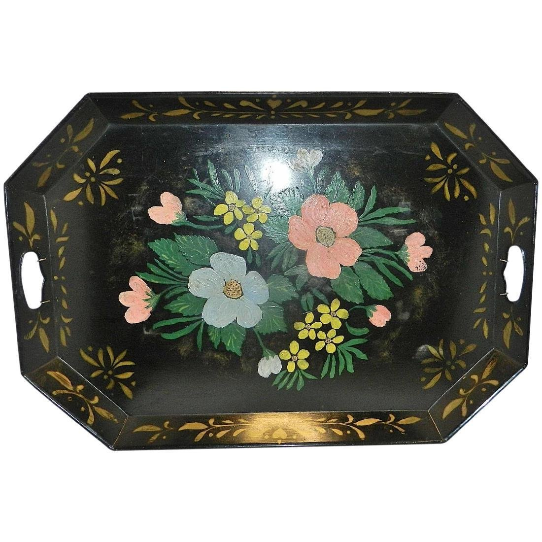 "Vintage Metal Hand Painted Tole Serving Tray 26"" x 13"""