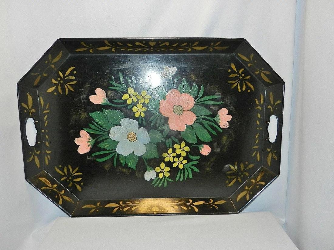 """Vintage Metal Hand Painted Tole Serving Tray 26"""" x 13"""" - 2"""