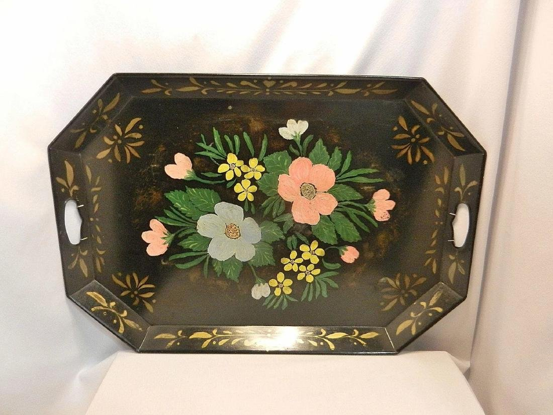 """Vintage Metal Hand Painted Tole Serving Tray 26"""" x 13"""" - 3"""