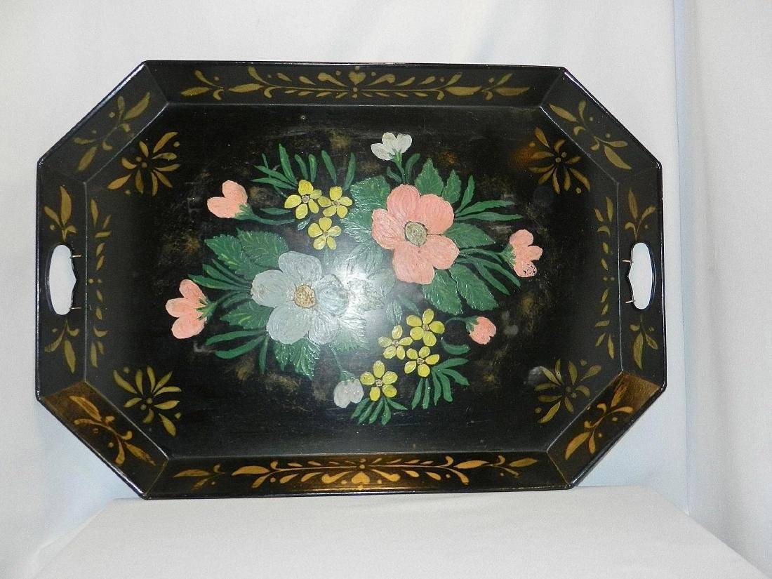 """Vintage Metal Hand Painted Tole Serving Tray 26"""" x 13"""" - 4"""