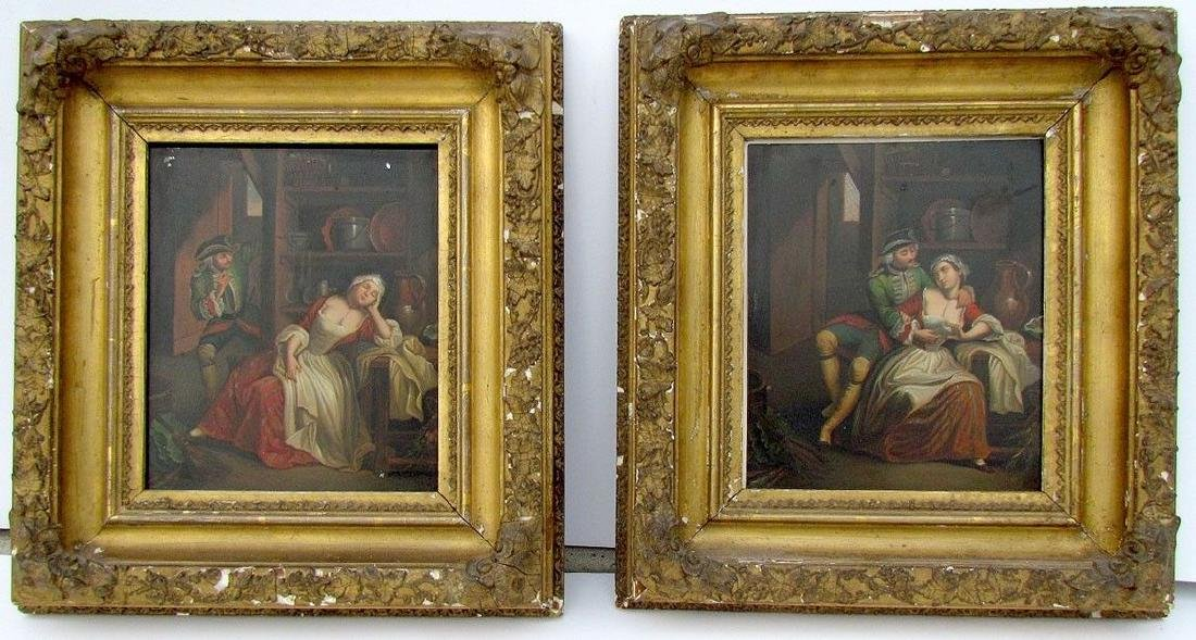 PAIR OF ANTIQUE 19th CENTURY FRAMED PAINTINGS on TIN -