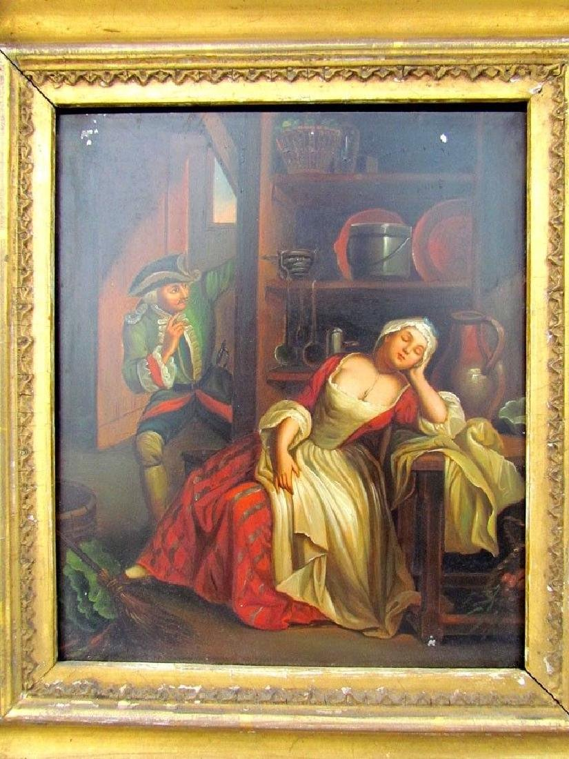 PAIR OF ANTIQUE 19th CENTURY FRAMED PAINTINGS on TIN - - 2