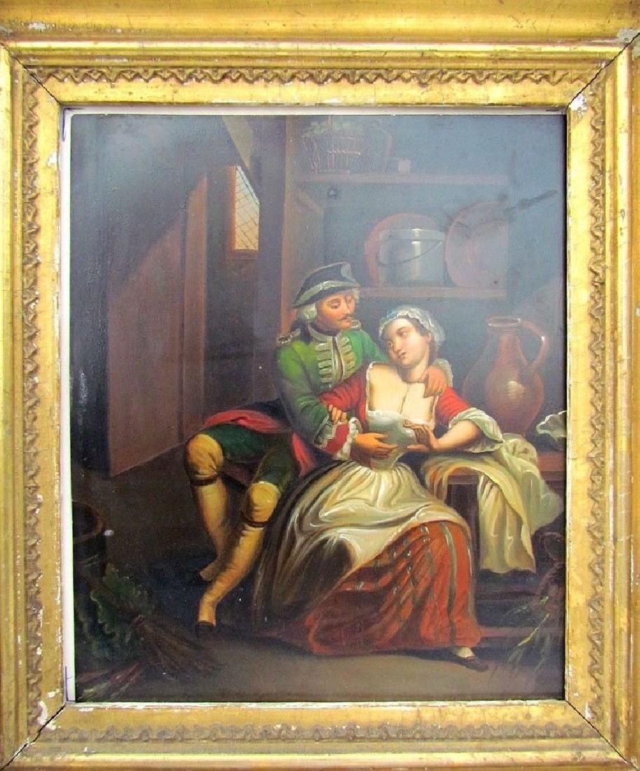 PAIR OF ANTIQUE 19th CENTURY FRAMED PAINTINGS on TIN - - 3