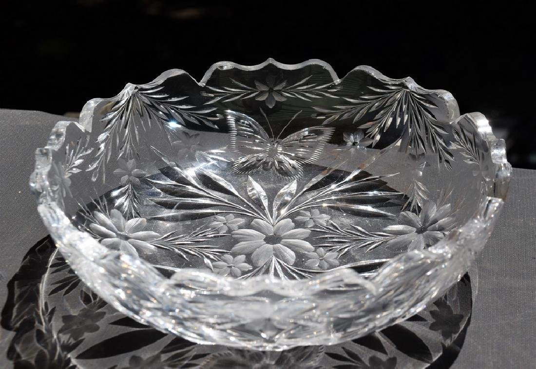 Pairpoint Cut Glass Garland w/ Butterfly Bowl American