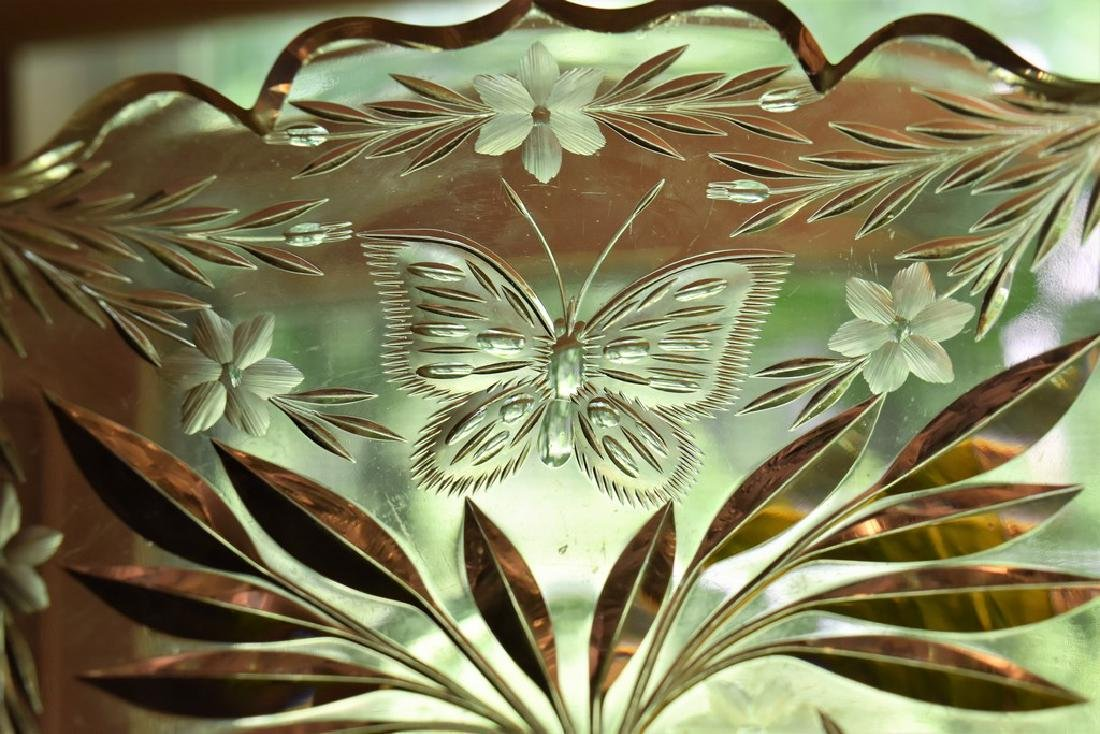 Pairpoint Cut Glass Garland w/ Butterfly Bowl American - 2