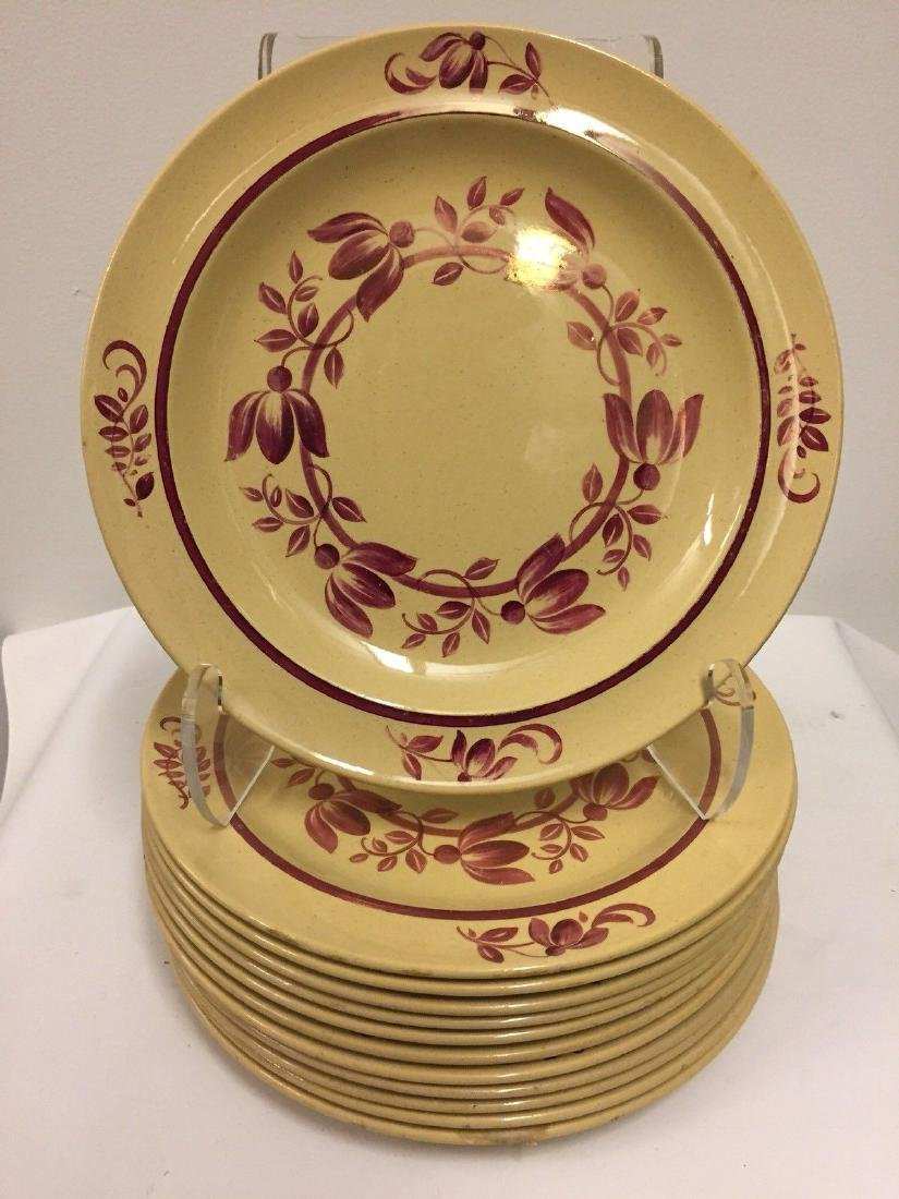 12 Antique Wedgwood Caramel Colored Lunch Plates, 1900