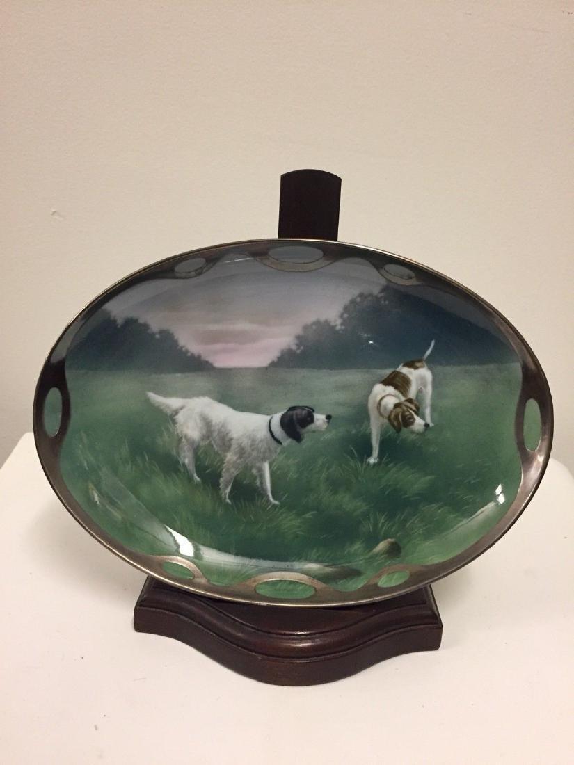German Porcelain And Silver Overlay Dish, Circa 1890