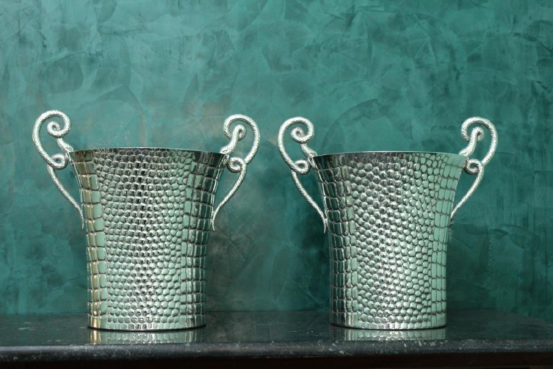 Pair of Italian Silver Ice bucket from Paolo Scavia,