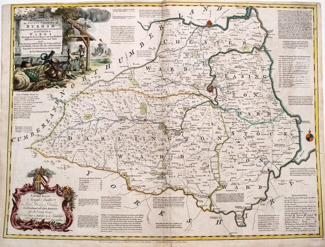 1760 Kitchin Map of Durham England -- An Accurate Map