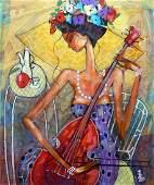 Wiktor Bezrukow Painting Cellist