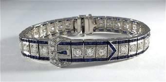 Sapphire and Diamonds Art Deco Platinum Bracelet