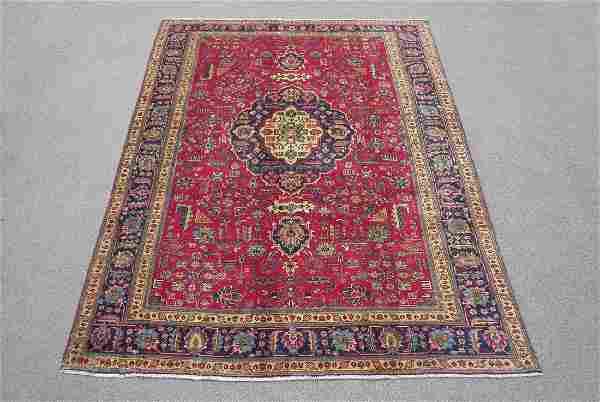 Semi Antique All Over Floral Persian Tabriz 10.4x7.3