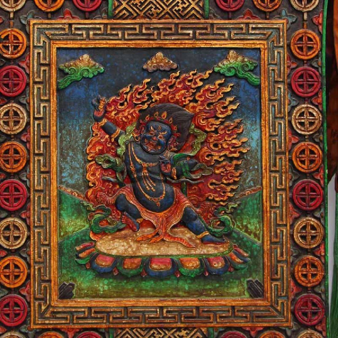 Vintage Tibetan Buddhism Zitan Wood Inlay Jade Tangka - 2