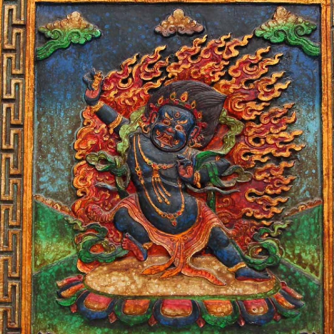 Vintage Tibetan Buddhism Zitan Wood Inlay Jade Tangka - 7
