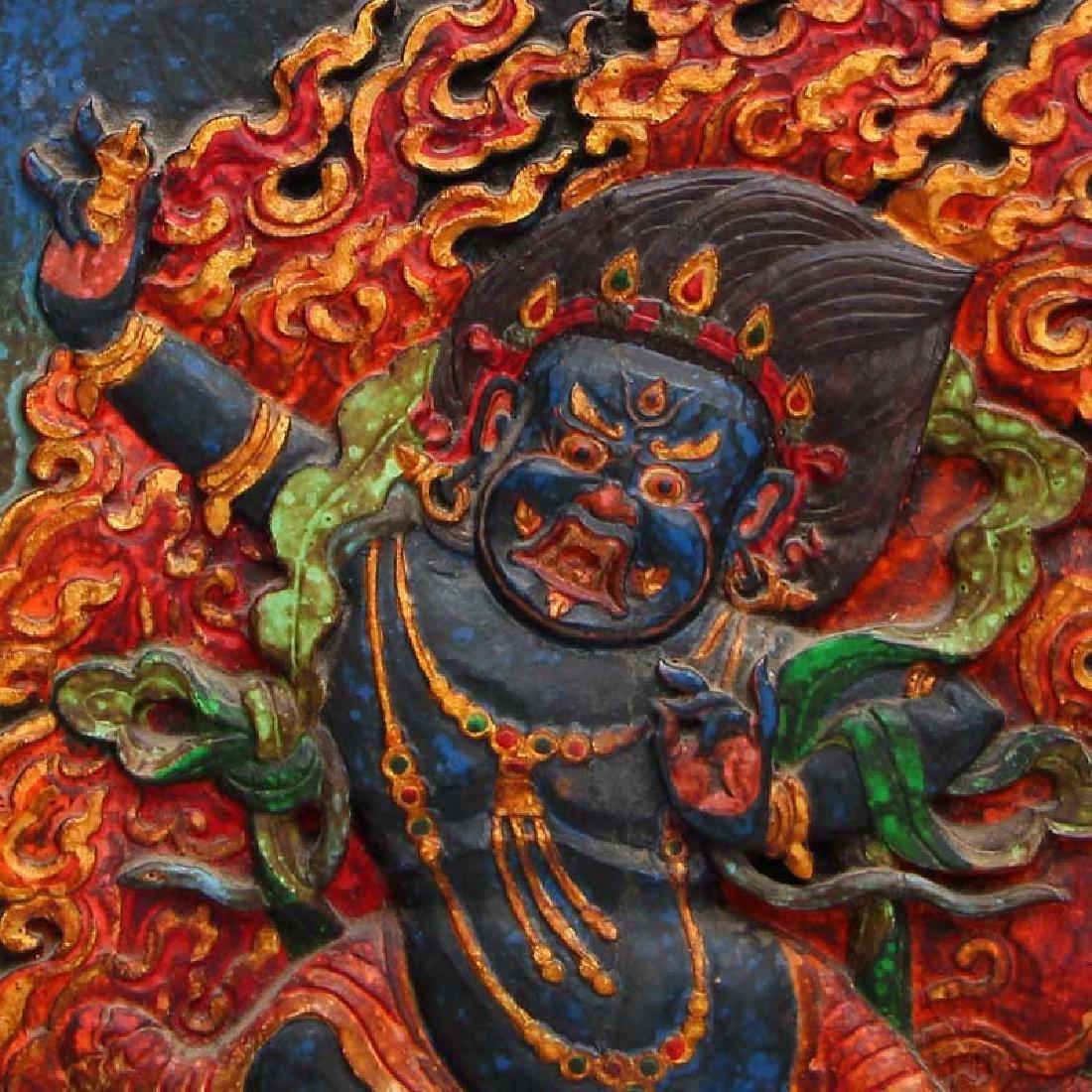 Vintage Tibetan Buddhism Zitan Wood Inlay Jade Tangka - 8