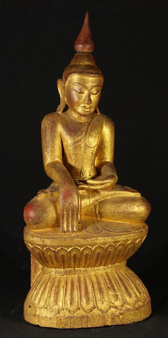 Antique Burmese Buddha statue - 6